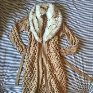 guess Faux fur long knit cardigan
